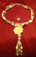 Beaded necklace semiprecious beads 2 str serpentine flower pendant tassel fj002
