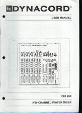 Dynacord EV Electro-Voice PSX-850 8/10 Channel Power Mixer Owner's Manual