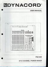Dynacord EV Electro-Voice PSX-850 8/10 KANAL POWER MIXER Benutzerhandbuch