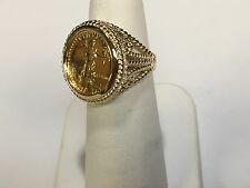 22K FINE GOLD 1/10 OZ US LIBERTY COIN in 14k gold Ring