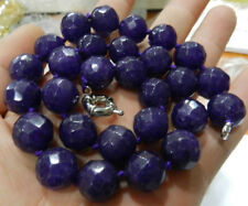 Faceted 14mm Dark Purple Amethyst Round Gemstone Beads Necklace 18''