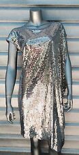 MICHAEL KORS Silver Sequin Draped Asymmetrical Gatsby Dress