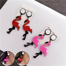 Cute Animal Flamingo Earrings Acrylic Seabird Drop Dangle Ear Stud Lady Jewelry
