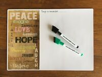 A4 Peace Love Hope Family Office Fridge Whiteboard Magnet Memo Reminders +2pens