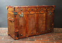 English Handmade Tan Leather Vintage Inspired Coffee Table Trunk CN12