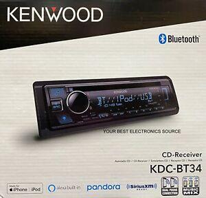 NEW Kenwood KDC-BT34 Single DIN, Bluetooth, CD/AM/FM, Car Stereo Receiver
