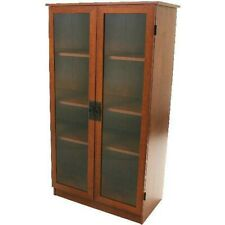"Glass Doors Barrister Bookcase Storage Display Cabinet Library Wood Cherry 53"" H"