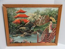Finished Paint By Number Art Asian Oriental Garden Pagoda Geisha 20x26 Vintage