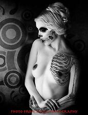 "Zombie-Drawn Nude Woman 8.5x11"" Photo Print Scary Female Photography Artwork"