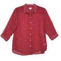 Susan Graver Sheer Red Polka Dot Blouse Womens M Medium Button Front 3/4 Sleeve