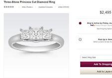($2,400+) 14K 3-Stone Princess Diamond Engagement Ring White Gold