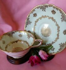 Vintage Parragon Queen Pale Green & Gold Bone China Tea Cup & Saucer Set