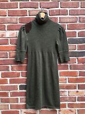 RUGBY Ralph Lauren Green Merino Wool Turtle Neck Sweater Dress Suede Small S *