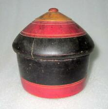 1930's Old Wooden Black Unique Shape Handcrafted Lacquer Powder Box ,Collectible