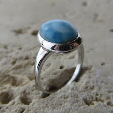Blue Larimar Ring 925 Sterling Silver #0121 Size 8, Size P 1/2, Size 57 Genuine,