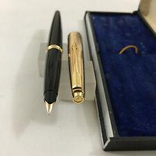 Parker Signet 1/10 12kt G.F.cap black FP 14k Fine+Converter BOX as Mint USA
