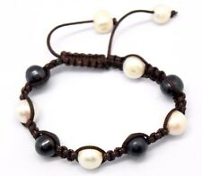Pearl Freshwater Cultured Pearls Large Black White Beads Bracelet