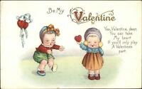 Valentine c1910 Postcard - Cute Little Kids in Bonnets Series 78E