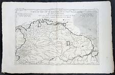 1780 Rigobert Bonne Antique Map South America Colombia, Venezuela, Amazon River