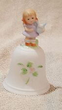 """Vintage Porcelain Bell With Little Girl Playing Harp 4 1/2"""" Tall"""