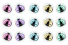15 x Lady Bugs Bottle Cap Logo Images for Necklaces, Magnets, Scrapbooking, Bows
