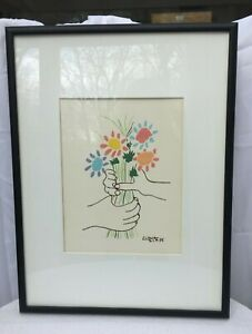 Picasso Signed Silk Screen #295 Modern Classic Series Bouquet of Peace