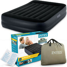 Intex Queen Deluxe Pillow Rest Raised Air Bed with Built in Pump NEW IN BOX!