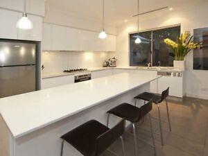 2.5*3M L-shape MDF 2pc Kitchen with 2M Island inc. 40mm Quartz Stone top $5900