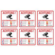 """6 Stück Aufkleber """"Achtung videoüberwachung"""" 7 sprachig, 10x10 cm, selbstklebend"""