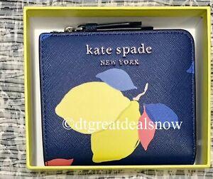 NWT Kate Spade Boxed Small L-Zip Bifold Wallet Cameron Lemon Zest River Blue