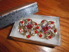 Signed Selini Chunky Red Rhinestone & Aurora Borealis Gold Tone Clip-on Earrings