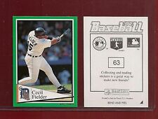 1994 Panini Baseball Sticker Detroit Tigers #63 Cecil Fielder