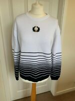 Ladies M&S White Navy Striped Sailor Nautical Jumper Size 14 Casual B94