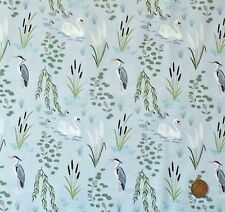 SWANS & HERONS ON LIGHT GREY BY LEWIS & IRENE - COTTON FABRIC FQ'S