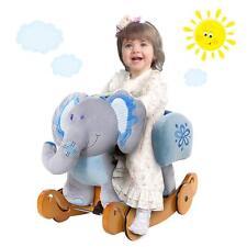 Kids Ride On Rocking Horse Toy Plush Blue Elephant Animal Rocker Seat Chair Gift