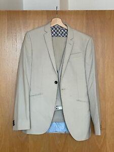 Next Mens Cream/Beige Three-Piece Slim Fit Suit & Suit Bag