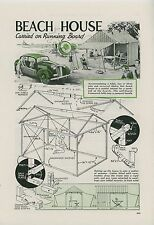 1936 Magazine Article How To Build Mobile Beach House Tent Carry on Car Camping