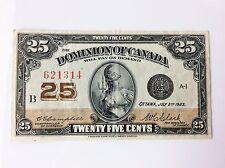 1923 Dominion of Canada Twenty Five 25 Cents Shinplaster B Series Banknote G705