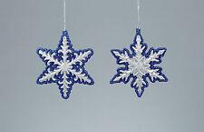 4 X Azul y Plata Brillo Copo de Nieve Colgante de Decoración de árbol de Navidad Decoración