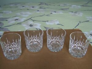 """Set of 4 Waterford Crystal LISMORE 3 1/4"""" or 8.2 cm Whisky Tumblers / Glasses"""