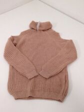 BOOHOO WOMEN'S TILLY ROLL NECK COLD SHOULDER JUMPER NUDE S/M NWT