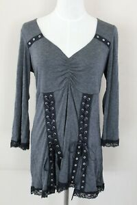 Victorian Gothic Gray with Black Ribbon Blouse Shirt Theater Top Women's L New