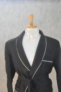 Mens Smoking Jacket – Black Shawl Wool  white piping