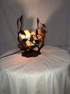 ONE LIGHT  TABLE LAMP WITH HAND  BLOW GLASS SHADE BROWN /GREEN