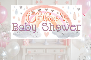 Large Personalised Baby Shower Banner Rose Gold Decorations Girl Unisex neutral