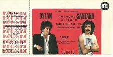 RARE / TICKET CONCERT - BOB DYLAN + CARLOS SANTANA LIVE A GRENOBLE FRANCE 1984