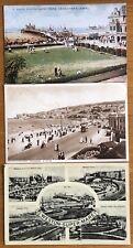 3 Vintage Postcards Weston Super Mare Tram Pier Lawn Sands Promenade Cars