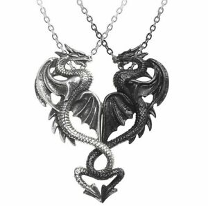 Alchemy Gothic Draconic Tryst Pendant 2 Interlocking or Separate Necklaces P811