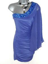 Stunning Jane Norman Purple Jewel Embellished One Shoulder Evening Dress Size 8