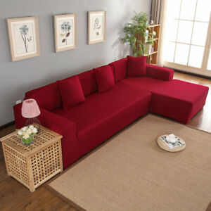 Polyester 3 + 2 Housse de canapé d'angle de siège en forme de L (rouge vin)